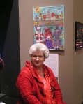 Wethersfield artist Elaine Ogren-Sperenza with her acrylic at the Mallett Gallery