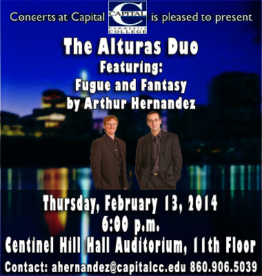The Alturas Duo will perform in the first of a series of Concerts @ Capital at Centinel Hill Hall on February 13th.