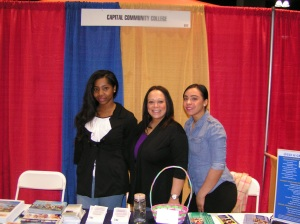 Sharing College information at the Latino Expo: Intern Kemona Golding, Marisol Malave and Jeannette Rivera