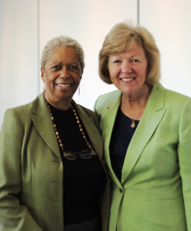 Dr. Marie Spivey (left) , Connecticut Hospital Association Vice President, and Dr. Cindy Adams, CCC Nursing Director, at UCONN Health Disparities forum.