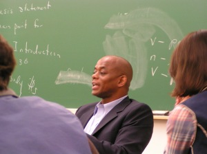 Rohan Freeman answers questions from students in Professor Peggy Schuyler's Advanced ESL class October 1.